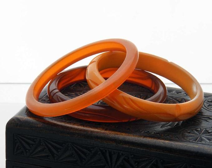 Vintage Bakelite Bangles - Set of 3 in Shades of Orange and Amber | Translucent, Opaque Antique Bakelite Bracelet Trio