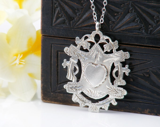 1913 Antique Medal | Edwardian Crest Medallion with Heart | Ornate Cutwork | Hallmarked English Silver - 20 Inch Sterling Chain