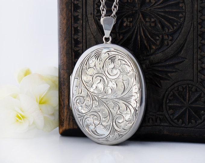 Large Sterling Silver Vintage Locket Necklace | Engraved Oval Locket | 1978 English Hallmark - 30 Inch Vintage Chain