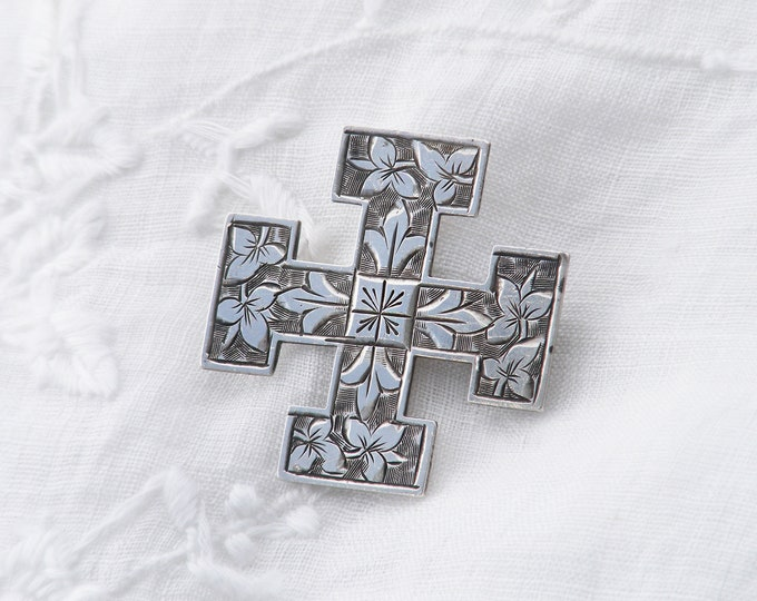 Victorian Sterling Silver Brooch Pin | 1876 Equal Sided Peaceful Cross with Ivy Leaves | Wedding Brooch - Something Old.