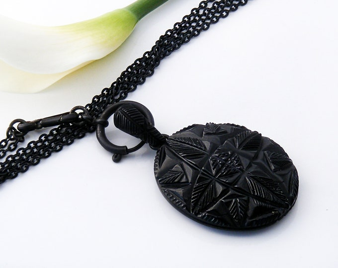Whitby Jet Victorian Locket | Black Oval Antique Locket, Glass Back | Carved Gothic Revival Design - 32 Inch Long Black Chain & Bolt Ring