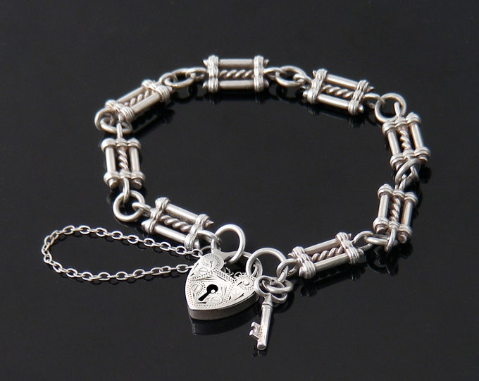 Vintage Sterling Silver Fob Chain Bracelet | Ornate Victorian Link with Heart Padlock Clasp | Hallmarked Silver - 7 Inches Long