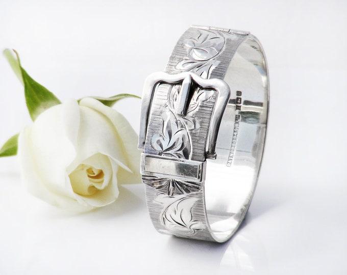 Vintage Sterling Silver Bracelet | Hinged Buckle Bracelet | Victorian Revival | 1976 English Hallmarks - Small to Medium Size Bracelet
