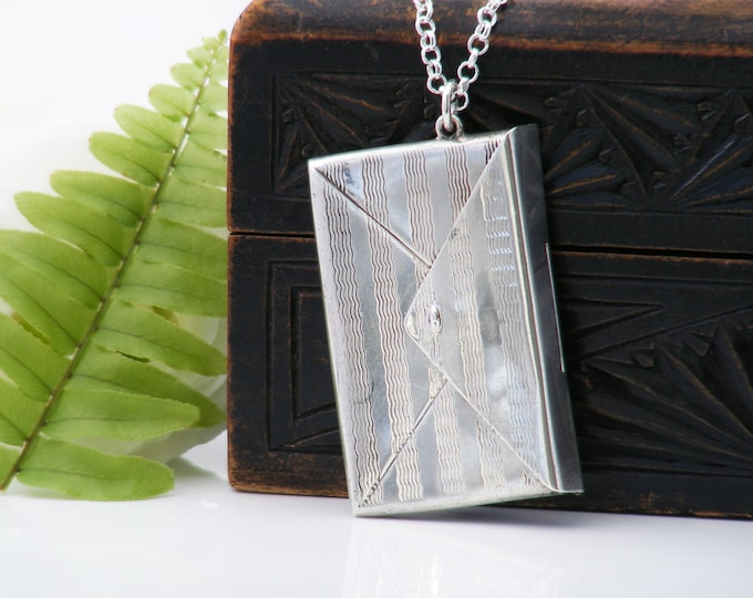 Antique Locket | Edwardian Chatelaine Case | Sterling Silver Double Stamp Envelope - 30 inch Sterling Chain