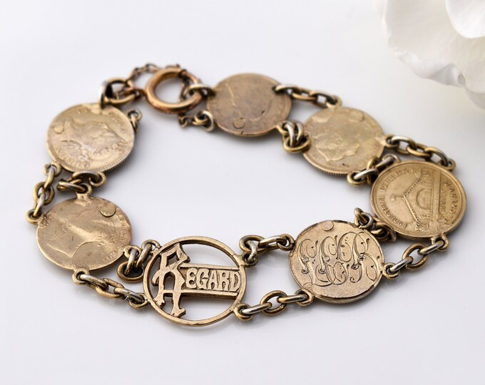Victorian Coin Charm Bracelet | Regard Sentiment | Gold Over Sterling Silver Chain Bracelet - 7 Inches Long