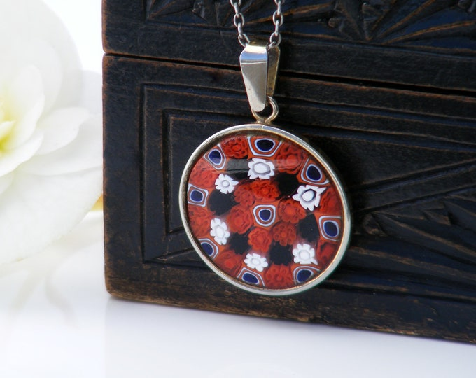 Vintage Glass Millefiori Pendant | Italian Glass Small Pendant | Thousand Flower Jewelry | Red, Blue, White Flowers - 18 Inch Sterling Chain
