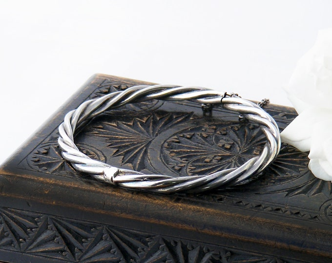 Vintage Sterling Silver Bracelet, Hinged Rope Twist Bangle | Victorian Revival | 1970s English Hallmarks - 7 Inch Wrist