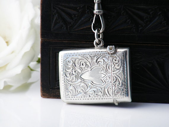 1923 Antique Vesta Case | Sterling Silver Engraved Match Safe | Hallmarked Vesta Case Locket - 34 Inch Chain & Fob Clip