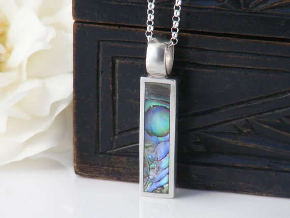 Vintage Paua Pendant, Sterling Silver & Abalone Rectangle | Small Summer Beach Pendant, Ocean Colors of Blue, Green, Purple - 20 Inch Chain