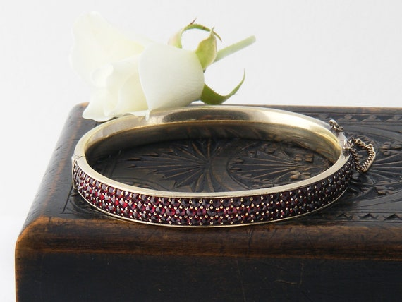 Antique Garnet Bracelet | Triple Row Bohemian Garnet Bangle | Hinged Gilded Silver | 7 Inch Wrist Size