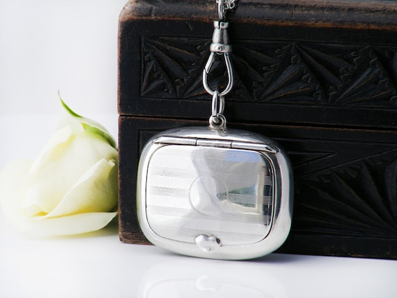 Antique Locket | Sterling Silver Locket | Photo Frame | 1921 Chatelaine Compact Case - 30 Inch Long Chain, Swivel Fob Clip