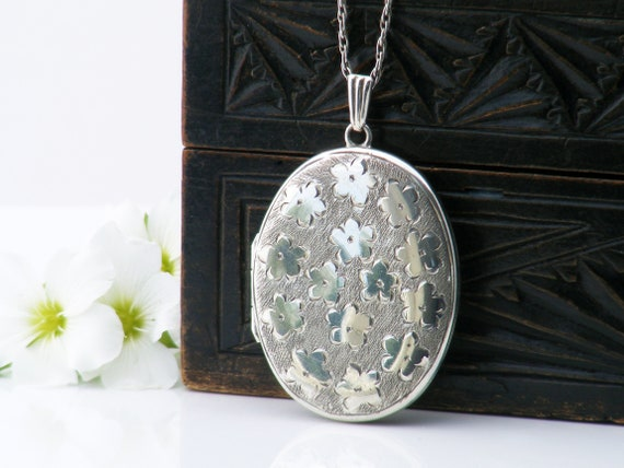 English Sterling Silver Vintage Locket | Oval Locket Necklace with Forget-Me-Not Flowers | 1975 English Hallmarks - 20 Inch Chain