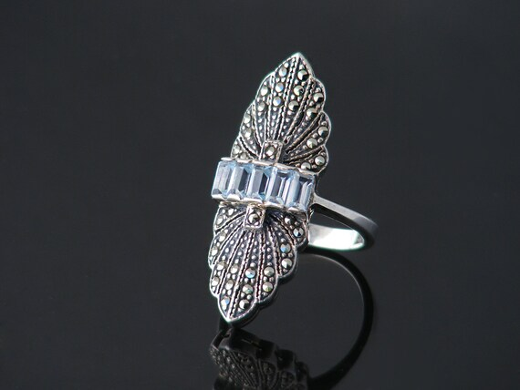 Vintage Ring | Art Deco Aquamarine, Marcasite & Sterling Silver | Pale Blue Gemstones - US ring size 6.5, UK ring size N
