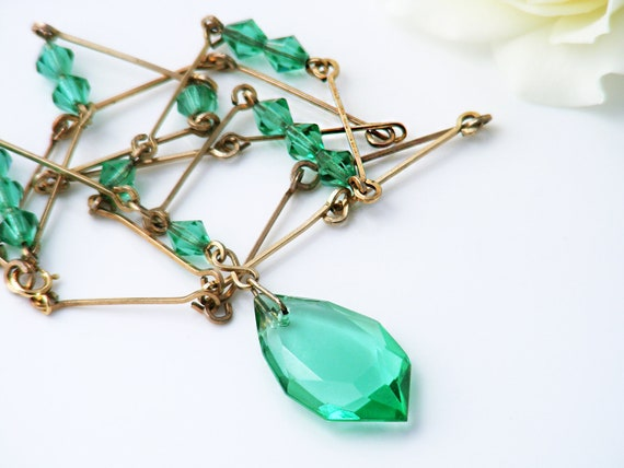 Vintage Mint Green Glass Necklace | 1930s Art Deco Beads & Gold Fill Stick Chain - 20 Inch Necklace