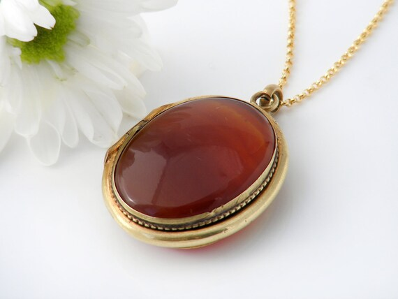 Antique Locket | Banded Agate Victorian Locket | Large Oval Locket Necklace - 24 Inch Chain