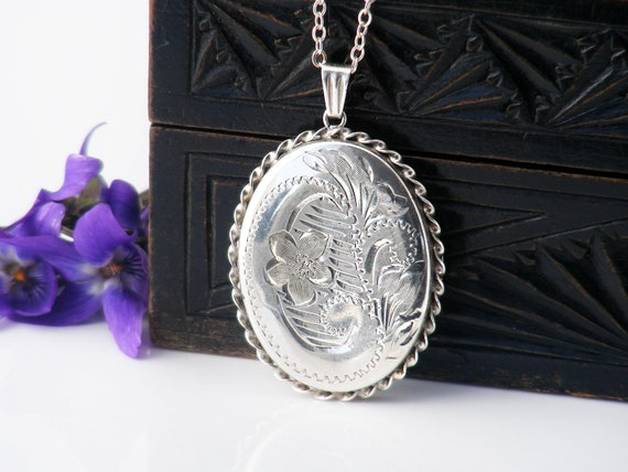 Sterling Silver Vintage Locket Necklace |  Large Engraved Oval Locket | 1970s English Hallmarked Silver - 20 Inch Long Sterling Chain