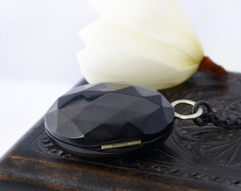 Whitby Jet Victorian Locket | Glossy Oval Black Antique Locket | Faceted 'Gemstone' Design - 35 Inch Long Black Chain