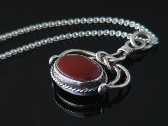 Vintage Fob Spinner | Sterling Silver, Onyx & Carnelian Gemstones | Victorian Style Swivel Fob Pendant - 20 Inch Silver Chain