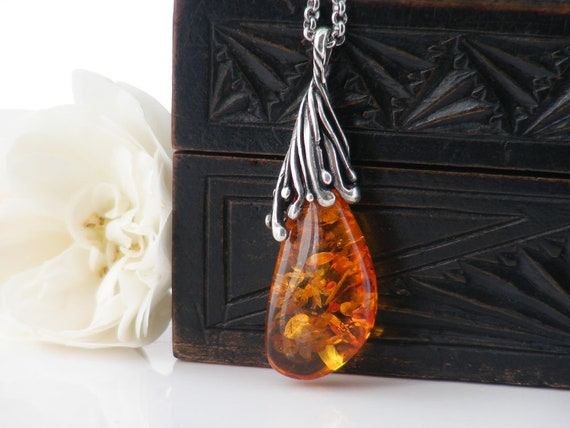 Vintage Amber & Sterling Silver Pendant | Baltic Amber with Lily Pad Inclusions | Organic Brutalist Teardrop - Long 34 inch Chain