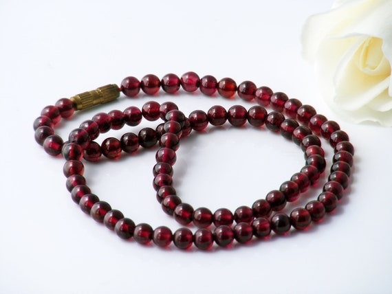 Vintage Garnet Bead Necklace | Petite Polished Wine Red Gemstone Beads | Natural Almandine Garnets - 16.5 Inches Long