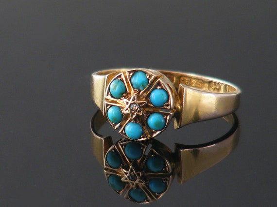 Turquoise 15ct Gold Victorian Ring | English Hallmarked Turquoise & Diamond Antique Engagement Ring | Ring Size US 6.25 | UK Size M 1/2