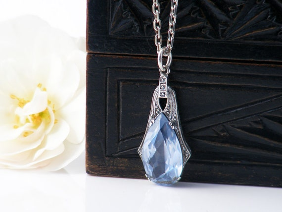 Dainty Ice Blue Glass Vintage Pendant | Light Sapphire Pear Cut Pendant | Bridal Gift + Something Blue - 16.5 inch Chain