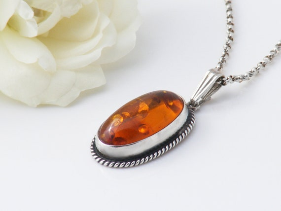 Vintage Amber & Sterling Silver Pendant | Baltic Amber with Lily Pad Inclusions | Petite Amber Pendant - 20 Inch Sterling Silver Chain