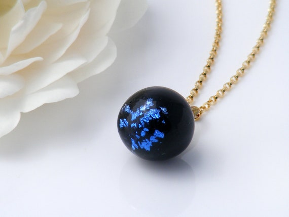 Victorian Drop Pendant | Antique Jet Black Glass with Electric Blue Foil, 'Charm String' Necklace, Antique Glass Pendant - 20 Inch Chain
