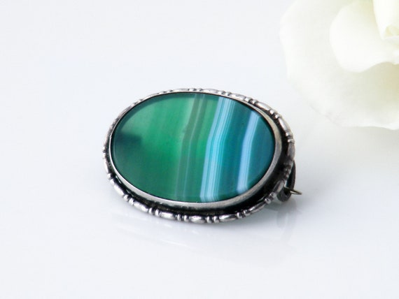 Edwardian Brooch | Green Banded Agate & Sterling Silver Lace Pin | Petite Antique Brooch or Lapel Pin