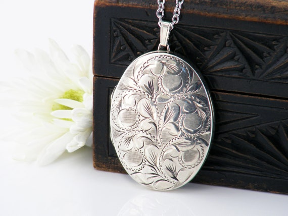 Sterling Silver Vintage Locket Necklace | Extra Large Engraved Oval Locket | 1979 English Hallmarks - 32 Inch Long Chain