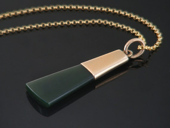 Antique Jade Fob Pendant |  Victorian Watch Fob Ornament | 9ct Gold Capped Blade Shape Nephrite Jade - 24 Inch Chain