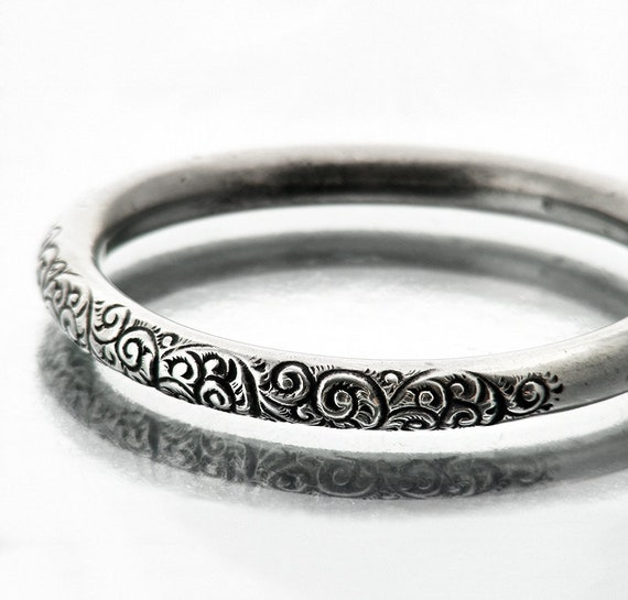 Victorian Sterling Silver Bangle | Antique Silver Bracelet | Hand Chased Acanthus Scroll Pattern