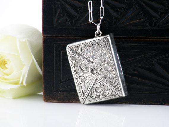 Antique Sterling Silver Locket | Edwardian Silver Stamp Envelope Locket | Stamped Sterling Silver - 22 inch Sterling Chain
