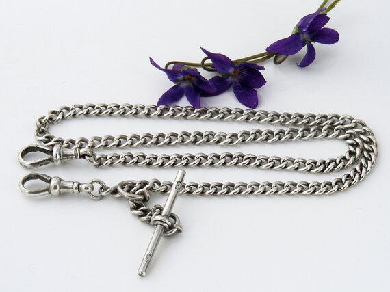 Antique Sterling Silver Fob Chain Necklace | Hallmarked English Silver | Victorian Double Albert Chain - 18.75 Inches Long