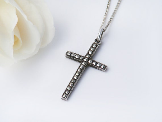 Delicate Vintage Sterling Cross Pendant | French Marcasite & Silver Cross Necklace - 18 Inch Sterling Chain