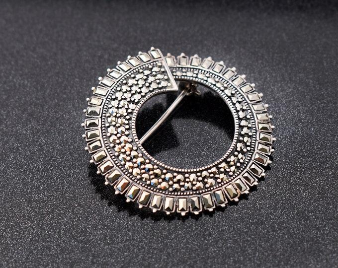 Vintage Sterling Silver Brooch | Marcasite Circle | Large Modernist 925 Silver Pin, Baguette Cut Stones - Scandinavian Design