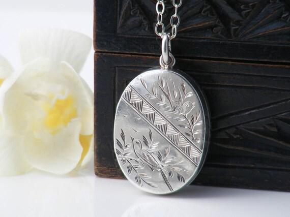 Antique Locket | 1881 Victorian Locket | English Hallmarked Sterling Silver | Aesthetic Era Design, Song Birds  - 20 Inch Sterling Chain