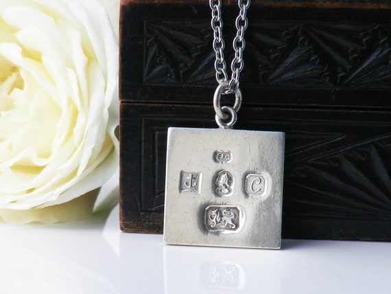Vintage Sterling Silver Ingot Pendant | 1977 English Hallmarks | Unique Vintage Gift - 34 Inch Long Chain