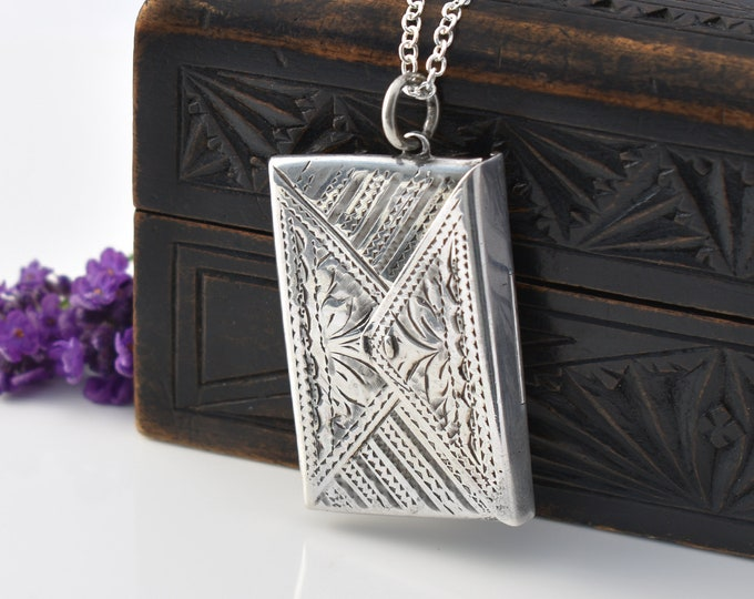 Antique Locket | Edwardian Chatelaine Case | Sterling Silver Double Stamp Envelope | English Silver - 30 inch Chain