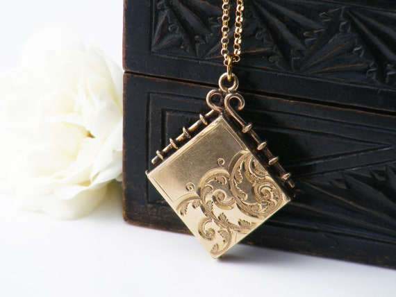 Antique Locket | Victorian Corner Hung Gold Fob Locket | Engraved Scrolls, Two Photo Frames - 20 Inch Chain