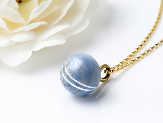 Victorian Drop Pendant | Antique Forget-Me-Not Blue & White Glass 'Charm String' Necklace, Antique Glass Pendant - 20 Inch Chain