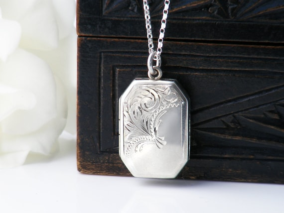 Vintage Sterling Silver Locket Necklace | Engraved 925 Silver Rectangle, Book Locket - 20 Inch Chain Included
