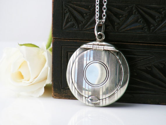 1920 Antique Sterling Silver Locket | Art Deco Chatelaine Compact Locket | Adie & Lovekin Hallmarked English Silver - 30 Inch Chain