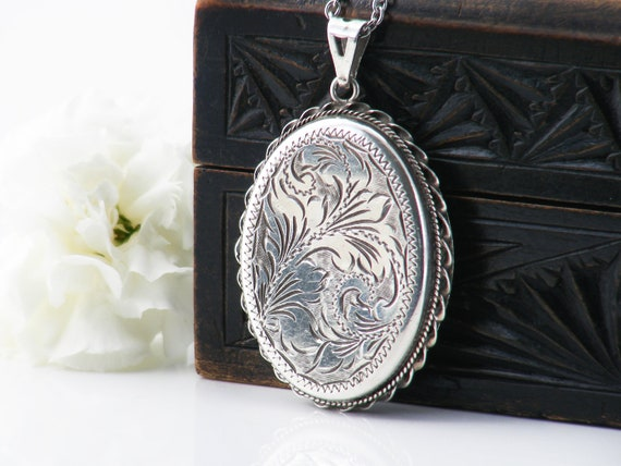 Sterling Silver Vintage Locket Necklace |  Large Engraved Oval Locket | 1978 English Hallmarked Silver - 34 Inch Long Sterling Chain