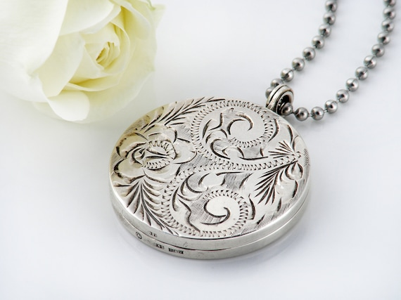 English Sterling Silver Vintage Locket | Large Engraved Round Locket | 1973 Hallmarked Silver - 30 Inch Long Chain