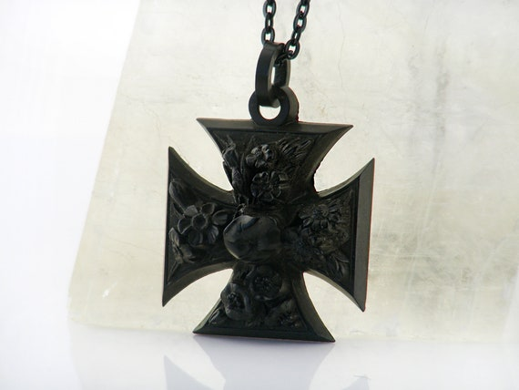 Victorian Cross Pendant with Black Carved Flowers   Large Antique Vulcanite Black Cross   Gothic Revival Floral Pendant - 32 Inch Long Chain