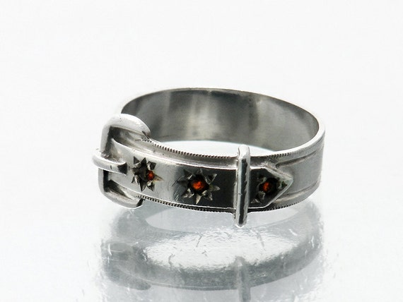 Vintage Garnet Ring | Sterling Silver, Garnet Belt & Buckle Ring | 925 Silver - US Ring Size 7, UK Ring Size O