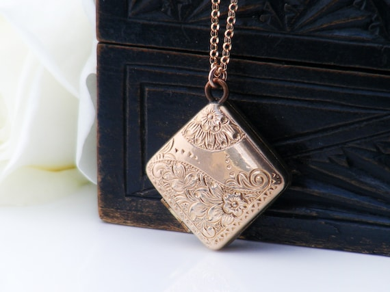 Antique Locket | Victorian Fob Locket | Engraved Corner Hung Square Locket Necklace | Rose Gold Fill  - 20 Inch Chain