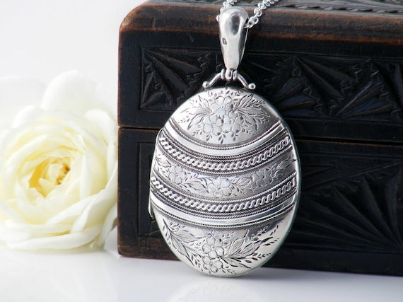 Antique Locket Sterling Silver | Large Oval Victorian Locket | 1883 English Hallmark | Photo Locket Necklace - 30 Inch Sterling Silver Chain