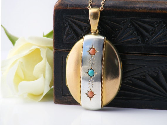 Large Silver & Gold Victorian Locket with Coral and Turquoise Cabochons | Gold Antique Oval Locket - 24 Inch Long Gold Filled Chain